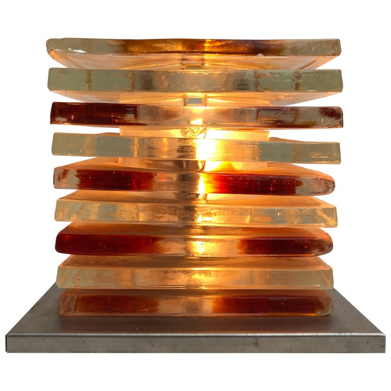 Table Light Sculpture Design by Albano Poli for Poliarte, Italy, 1970s For Sale