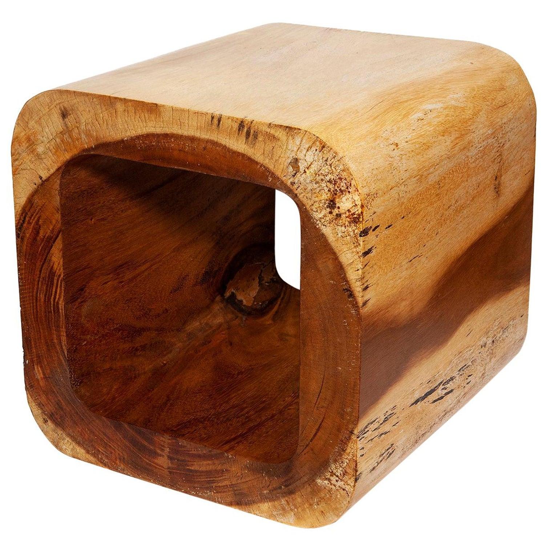 Table Low Side Block Open Vintage 1960s Pale Honey