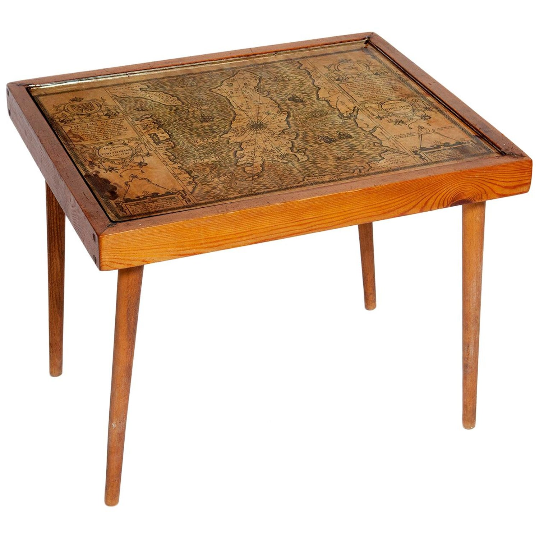 Table Low Sofa Vintage 1950s Map Isle of Man John Speed 1610 Thomas Durham 1595