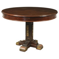 Table Mahogany Brass Mahogany Veneer, Italy, 1950s-1960s