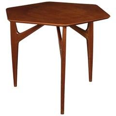 Table Mahogany Veneer and Solid Wood 1950s Italian Prodution