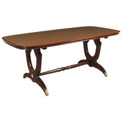 Table Mahogany Wood Back-Treated Glass Brass, Italy, 1950s 1960s
