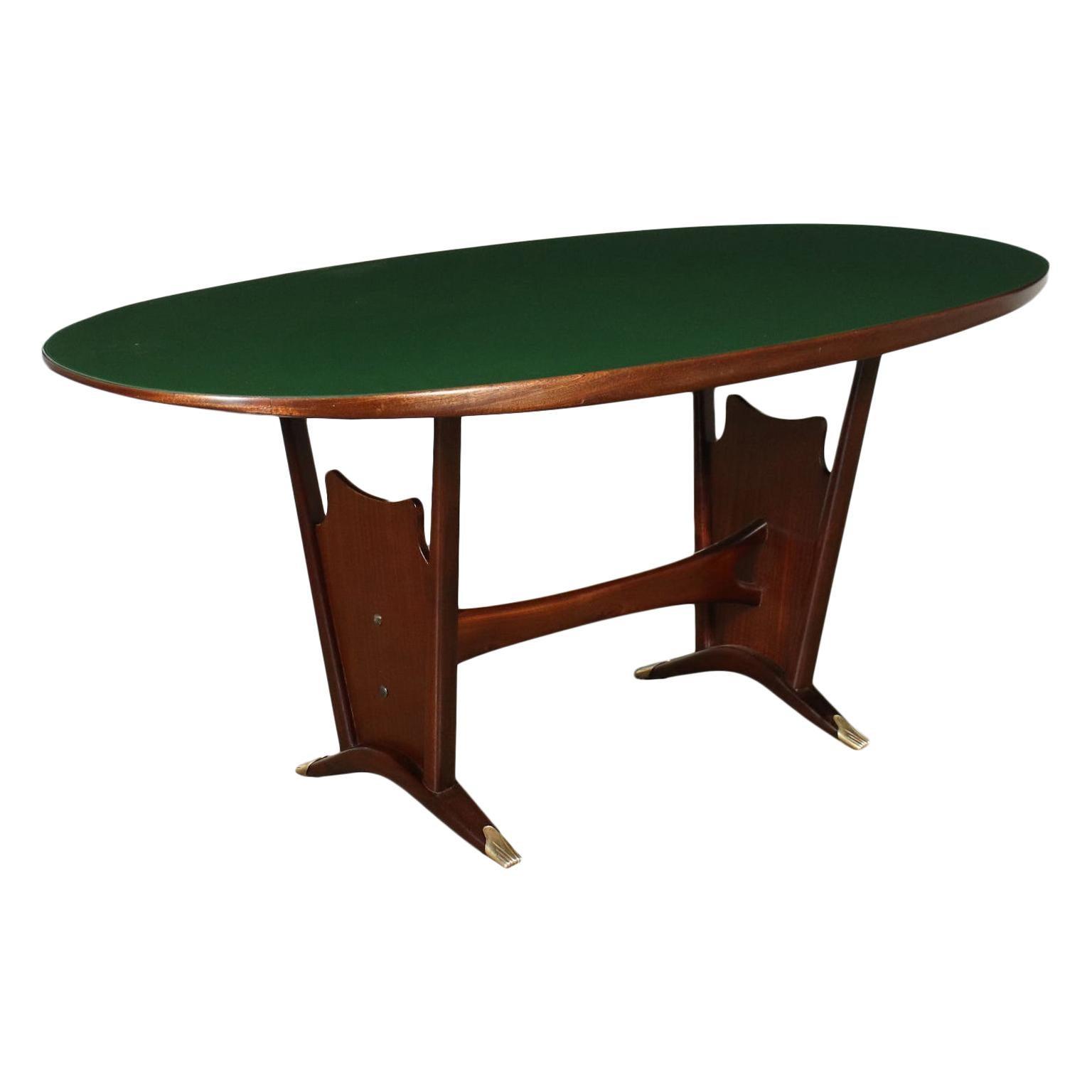 Table Mahogany Wood Back-Treated Glass, Italy, 1950s 1960s