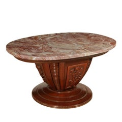 Table Marble-Top Solid Wood Walnut Veneer Vintage Manufactured in Italy, 1950s