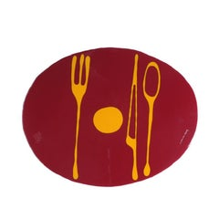 Set of 4 Table Mates Placemats in Bordeaux and Yellow by Gaetano Pesce