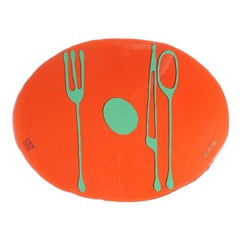 Set of 4 Table Mates Placemats in Clear Dark Ruby and Green by Gaetano Pesce