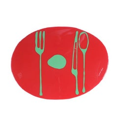 Set of 4 Table Mates Placemats in Red and Green by Gaetano Pesce