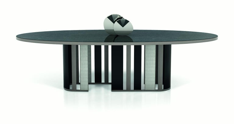 Table Metal Frame Champagne Finish and Polish Ebony Top Vetrite Customizable In New Condition For Sale In London, GB