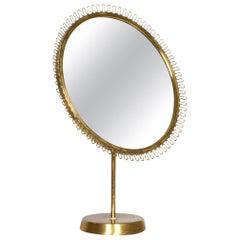Table Mirror by Josef Frank, Firma Svenskt Tenn, Brass, Sweden, 1950s