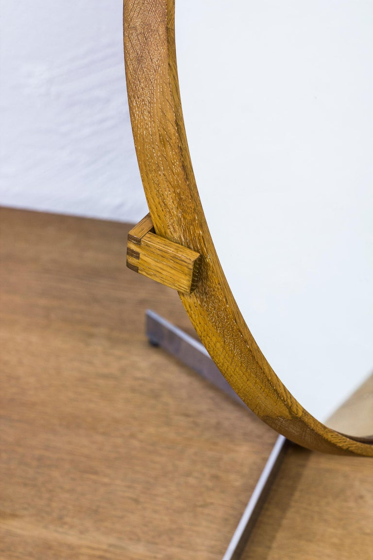 Leather Table Mirror by Uno & Östen Kristiansson for Luxus, Sweden, 1950s For Sale