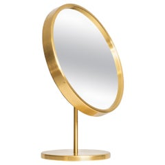 Table Mirror in Brass Produced by Glas Mäster in Markaryd, Sweden
