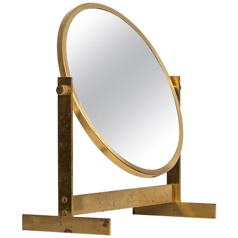 Table mirror in brass produced in Sweden For Sale
