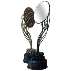 Table Mirror in Gilded Brass, African Black and Red Marble from Iosselliani