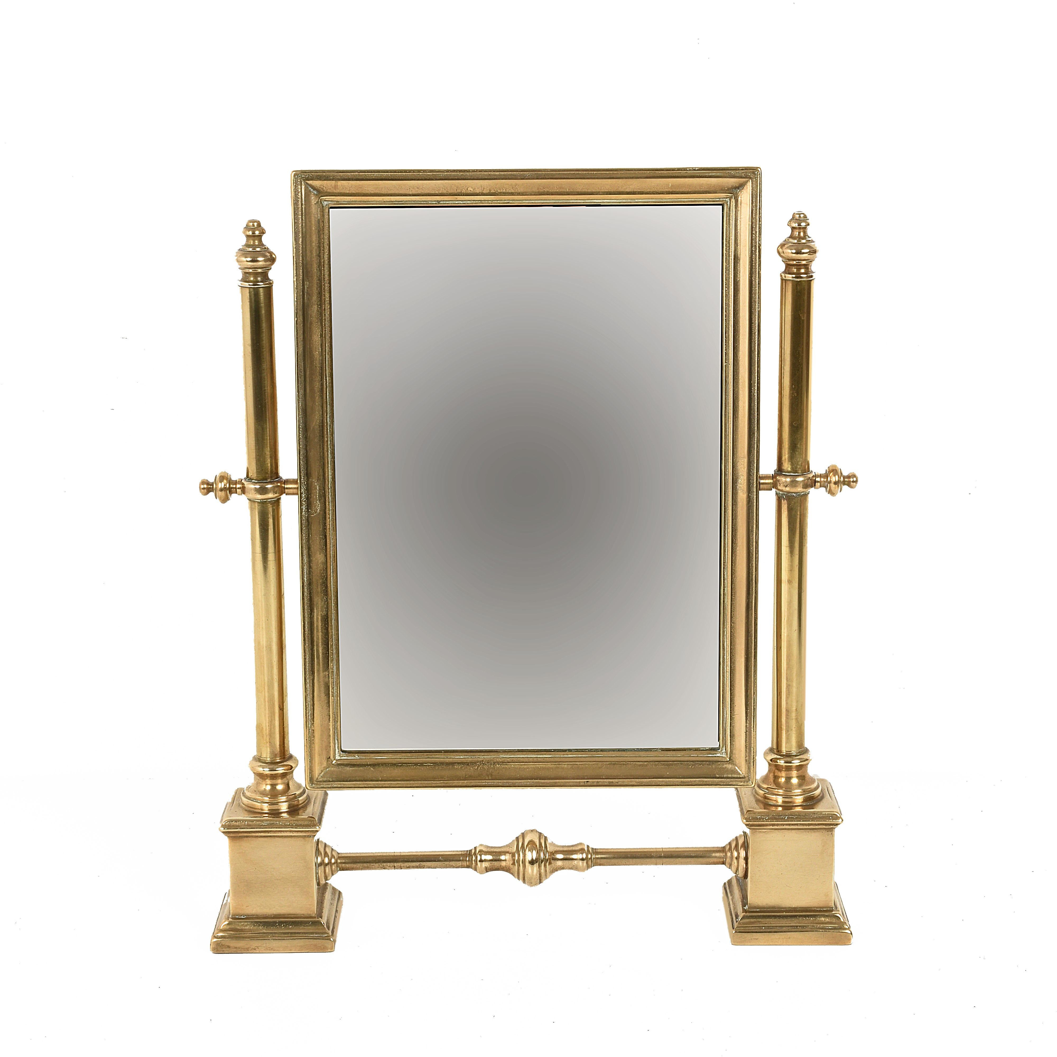Table Mirror In Polished Brass, Vanity, Adjustable, Italy, 1950s