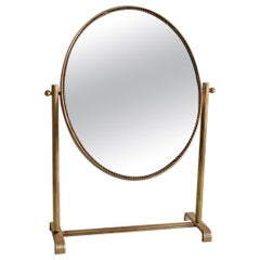 Table Mirror or Vanity Mirror in Brass, 1950s