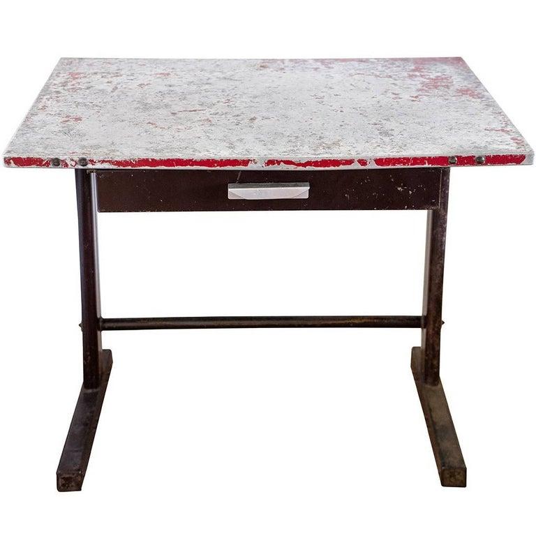 Table Model 'Tropique 501' by Jean Prouvé, Bent Sheet Steel, circa 1951, France
