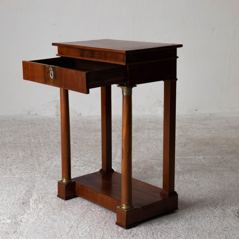 Table Nightstand Swedish 19th Century Mahogany Brass, Sweden For Sale 6
