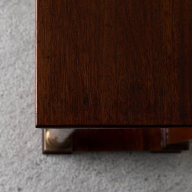 Table Nightstand Swedish 19th Century Mahogany Brass, Sweden For Sale 7