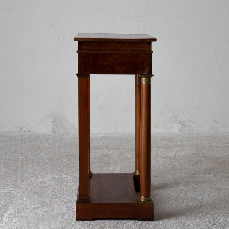 Table Nightstand Swedish 19th Century Mahogany Brass, Sweden For Sale 8