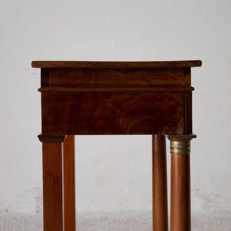 Table Nightstand Swedish 19th Century Mahogany Brass, Sweden For Sale 11