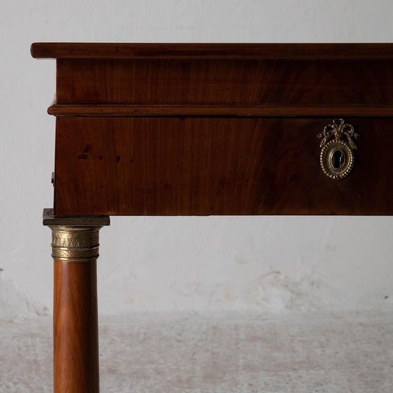 Table Nightstand Swedish 19th Century Mahogany Brass, Sweden In Good Condition For Sale In New York, NY
