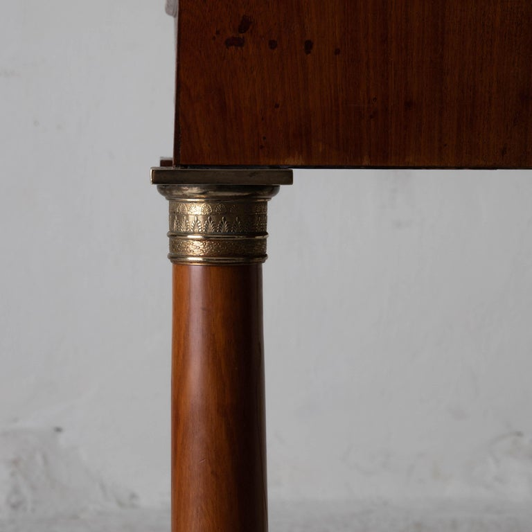Table Nightstand Swedish 19th Century Mahogany Brass, Sweden For Sale 1