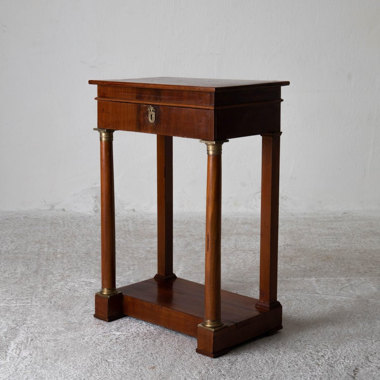 Table Nightstand Swedish 19th Century Mahogany Brass, Sweden For Sale 3