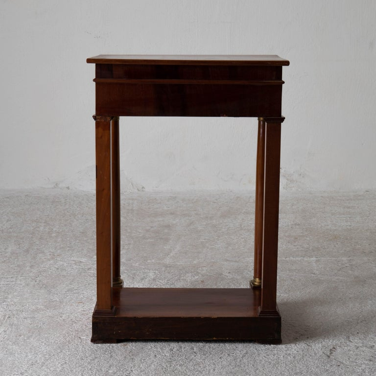 Table Nightstand Swedish 19th Century Mahogany Brass, Sweden For Sale 4