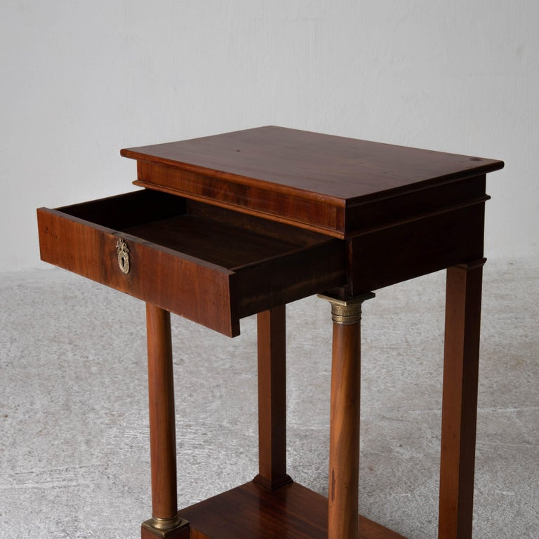Table Nightstand Swedish 19th Century Mahogany Brass, Sweden For Sale 5