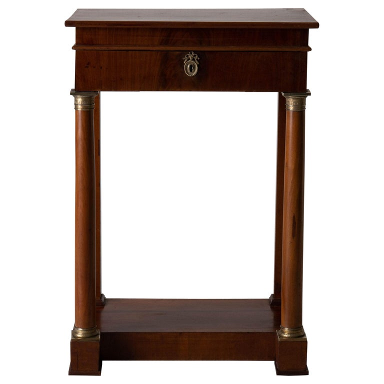 Table Nightstand Swedish 19th Century Mahogany Brass, Sweden For Sale