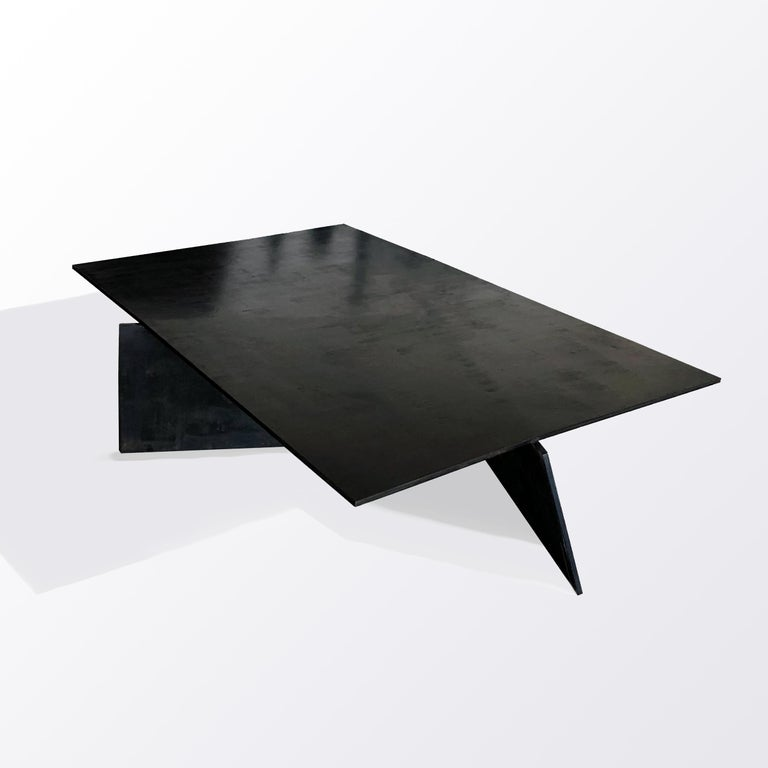 """Table No. 10 by JM Szymanski Dimensions: L 60"""" x W 45"""" x H 14"""" Materials: Blackened waxed steel  This table is handmade entirely out of 1/2"""
