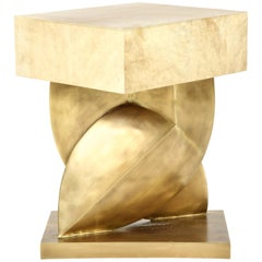 Table, Parchment with Bronze Base, Tan Color, in Stock
