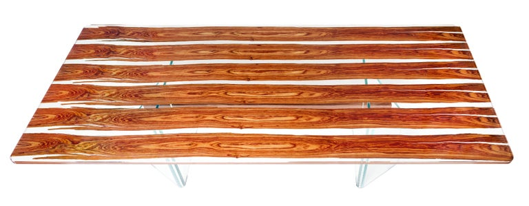 Modern Table Parigi, in Glass and Bois De Rose, Italy For Sale
