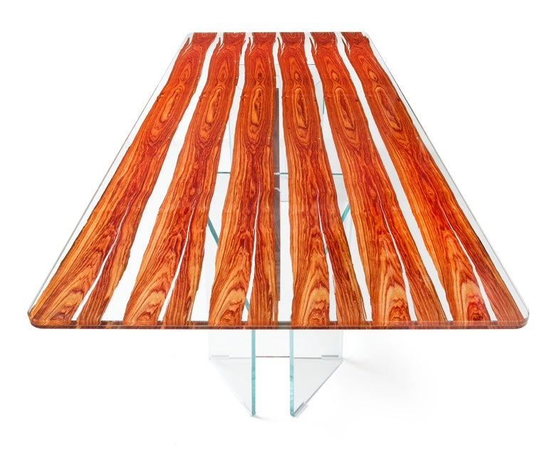 Italian Table Parigi, in Glass and Bois De Rose, Italy For Sale