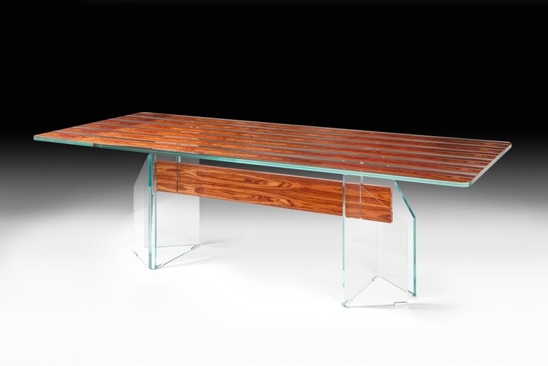 Hand-Crafted Table Parigi, in Glass and Bois De Rose, Italy For Sale