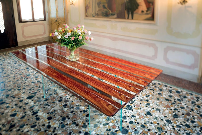 Table Parigi, in Glass and Bois De Rose, Italy In New Condition For Sale In Quinto di Treviso, Treviso