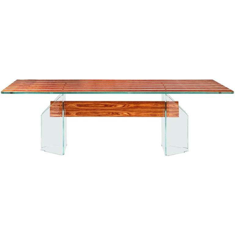 Table Parigi, in Glass and Bois De Rose, Italy For Sale