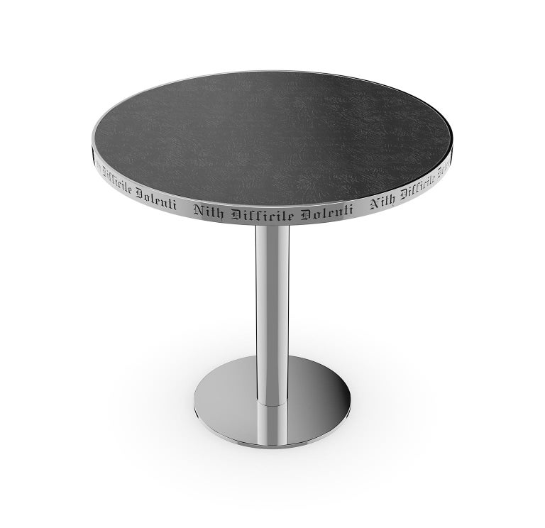 Modern Table Pedestal Polish Stainless Steel Custom Lettering Laser Engrave Top Vetrite For Sale