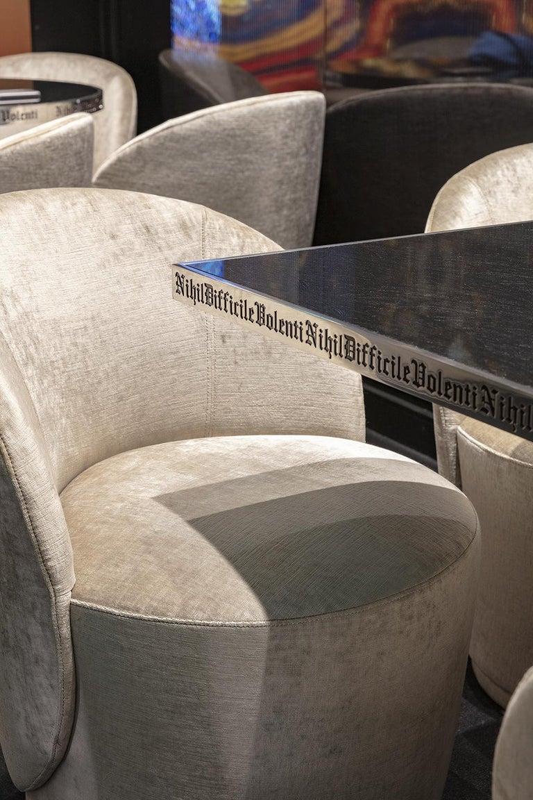 Italian Table Pedestal Polish Stainless Steel Custom Lettering Laser Engrave Top Vetrite For Sale