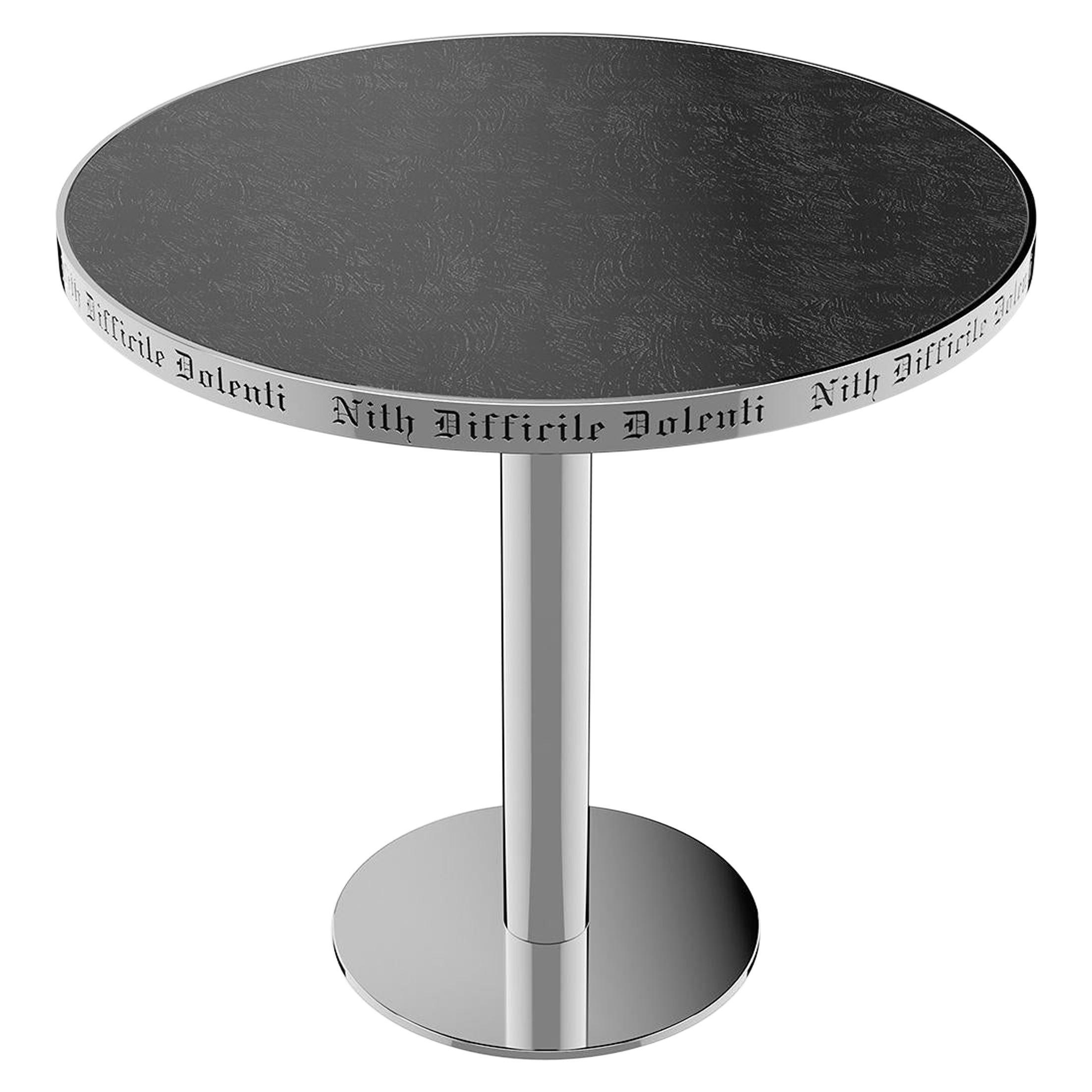 Table Pedestal Polish Stainless Steel Custom Lettering Laser Engrave Top Vetrite