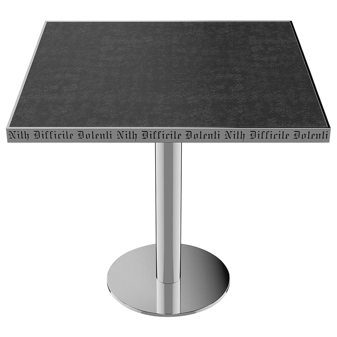 Table Pedestal Polish Stainless Steel Custom Lettering Laser Engrave Top Vetrite