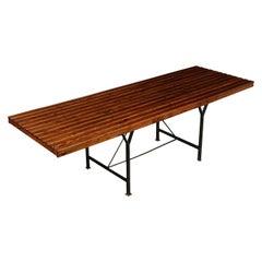 Table Pine and Metal Italy 1970s-1980s Italian Prodution