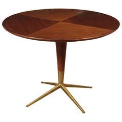 Table Poplar Mahogany Veneer Glass and Brass, England, 1950s-1960s