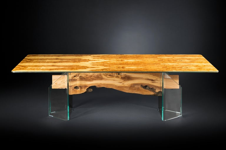 Italian Table Portofino, in Glass and Olive-Tree Wood, Italy For Sale