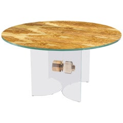 Table Portofino Round, in Glass and Olive-Tree Wood, Italy