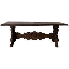Table Rare Baroque Italian Oak Patina Crest Details, Italy