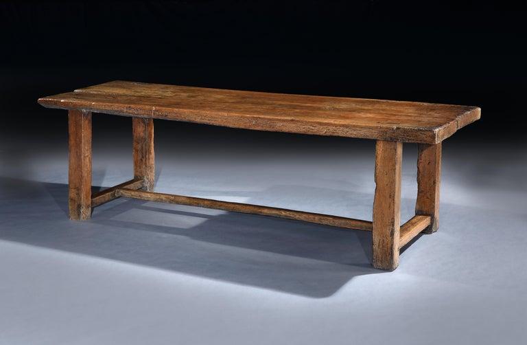 Baroque Table Refectory Dining Long Farmhouse Elm 18th Century Folk Vernacular For Sale
