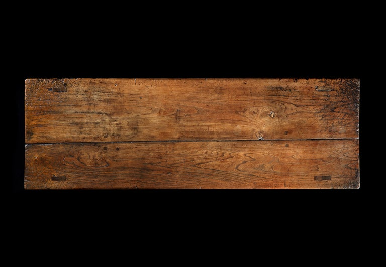 British Table Refectory Dining Long Farmhouse Elm 18th Century Folk Vernacular For Sale