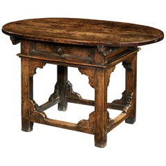 Table Rent Center Desk Tavolino Tuscan Italian Walnut Oval Baroque