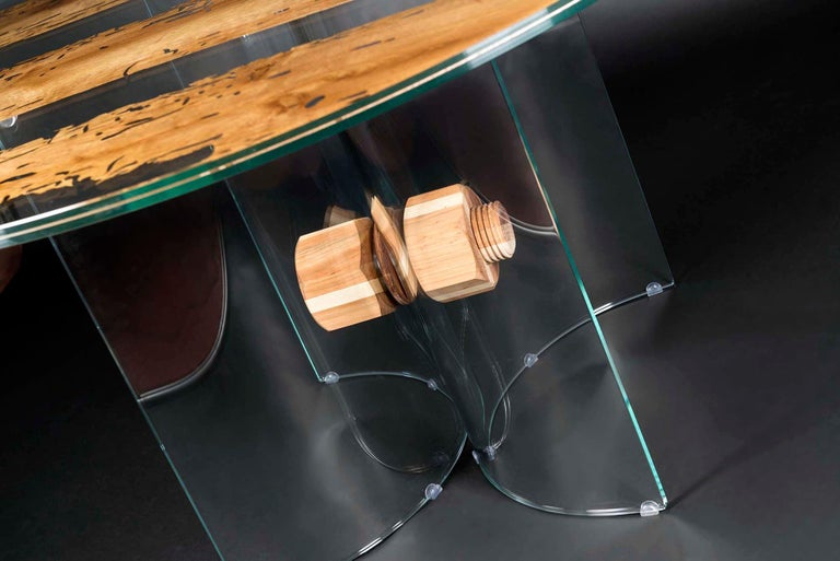 Modern Table Round Venezia, in Glass and Venetian Briccola, Italy For Sale